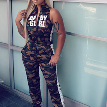 Summer Camouflage Long Jumpsuits Sportwear Women Zipper Turtleneck Femme Overalls Rompers Women Fitness Jumpsuits Streetwear New
