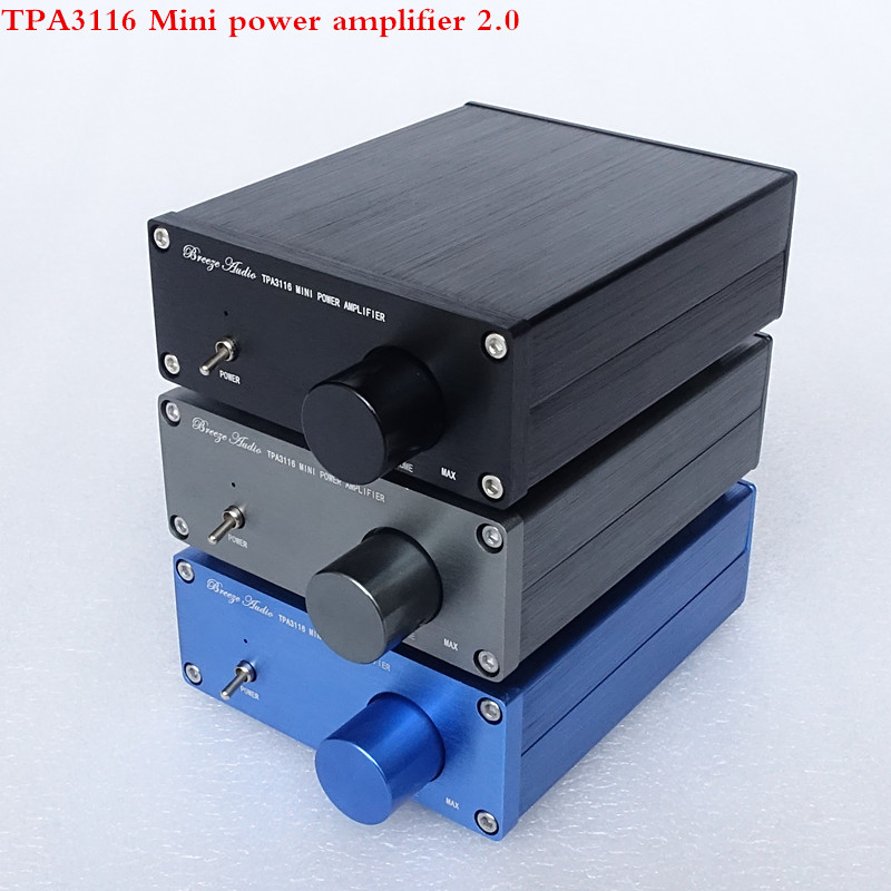 Breeze Audio HiFi Class 2.0 Audio Stereo Digital Power Amplifier TPA3116 Advanced 2*50W Mini Home Aluminum Enclosure amp