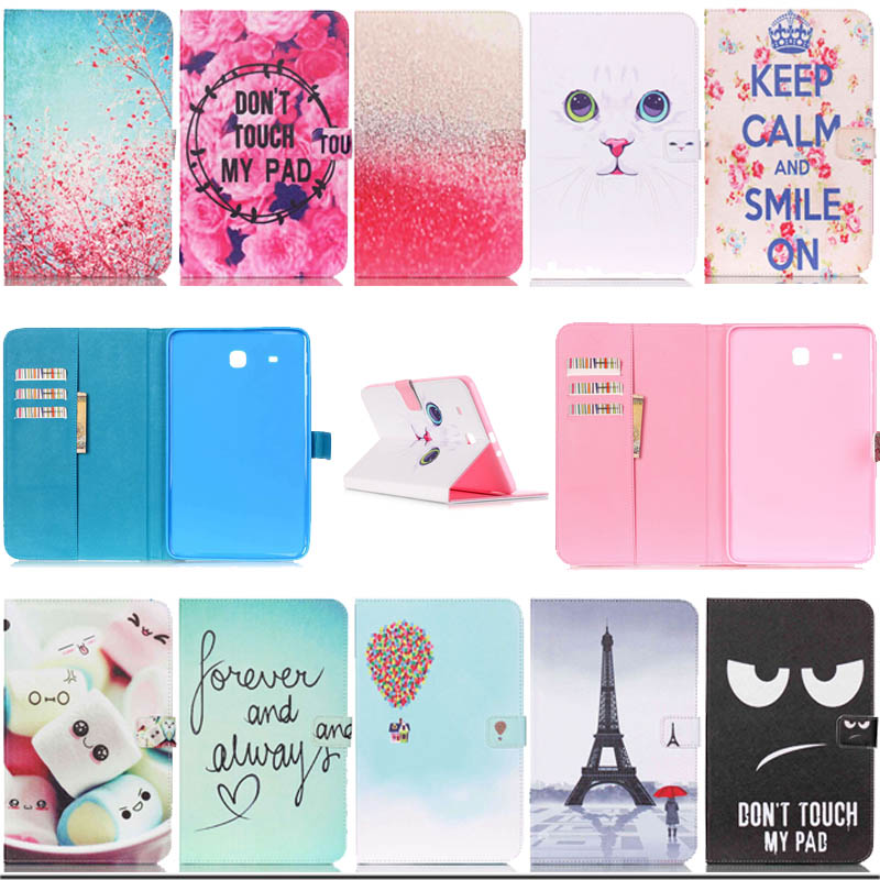 For Samsung T560 Stand PU Leather Case For Samsung Galaxy Tab E 9.6 SM-T560 T561 fashion Pattern tablet flip Cover Y3D25D pu leather case cover for samsung galaxy tab 3 10 1 p5200 p5210 p5220 tablet