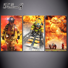 FULLCANG diy triptych diamond painting fire fighter 3 pieces mosaic cross stitch 5d embroidery kits full drill decor G1289