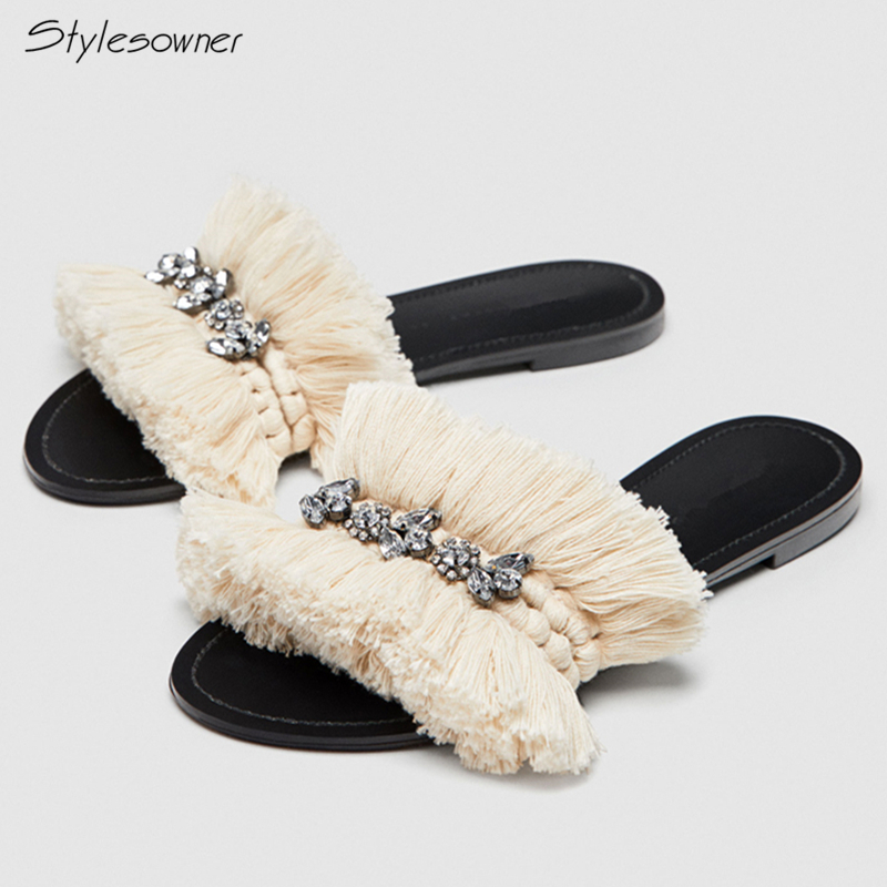 Stylesowner Women Tassel Fringe Crystal Flat Casual Summer Slippers 2018 New Fashion Fluffy Beach Slides Woolen Knit Sexy Slides каталог sia
