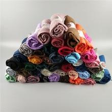 100PCS Very Popular Soft Plain Wrinkle Muslim Hijabs Nice Woman Shawls Headband Spring Wraps Fashion Scarves Wholesale Price