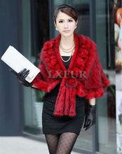 Classic Real Knitted Mink Fur Shawl Scarf Graceful Womens Casual Poncho Cape Fashion Slim Fur Outwear LX00035