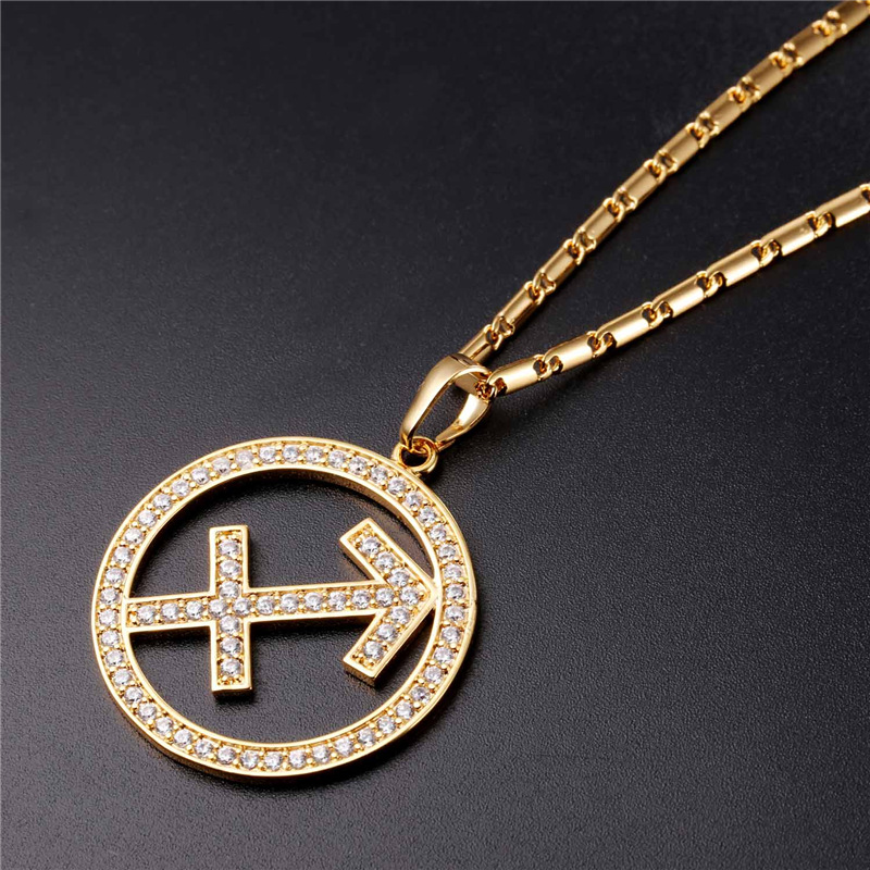 Aliexpress.com   Buy Zodiac Charms SAGITTARIUS Pendant Necklace Simple  Design Jewelry Gift Rhinestone Gold Silver Color Necklace For Men Women  P2511 from ... 41801c979f9c