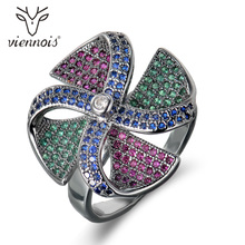 Viennois Vintage Silver Color Copper Finger Ring For Women Colorful Zircon Paved Windmill Female Size Ring Party Jewelry
