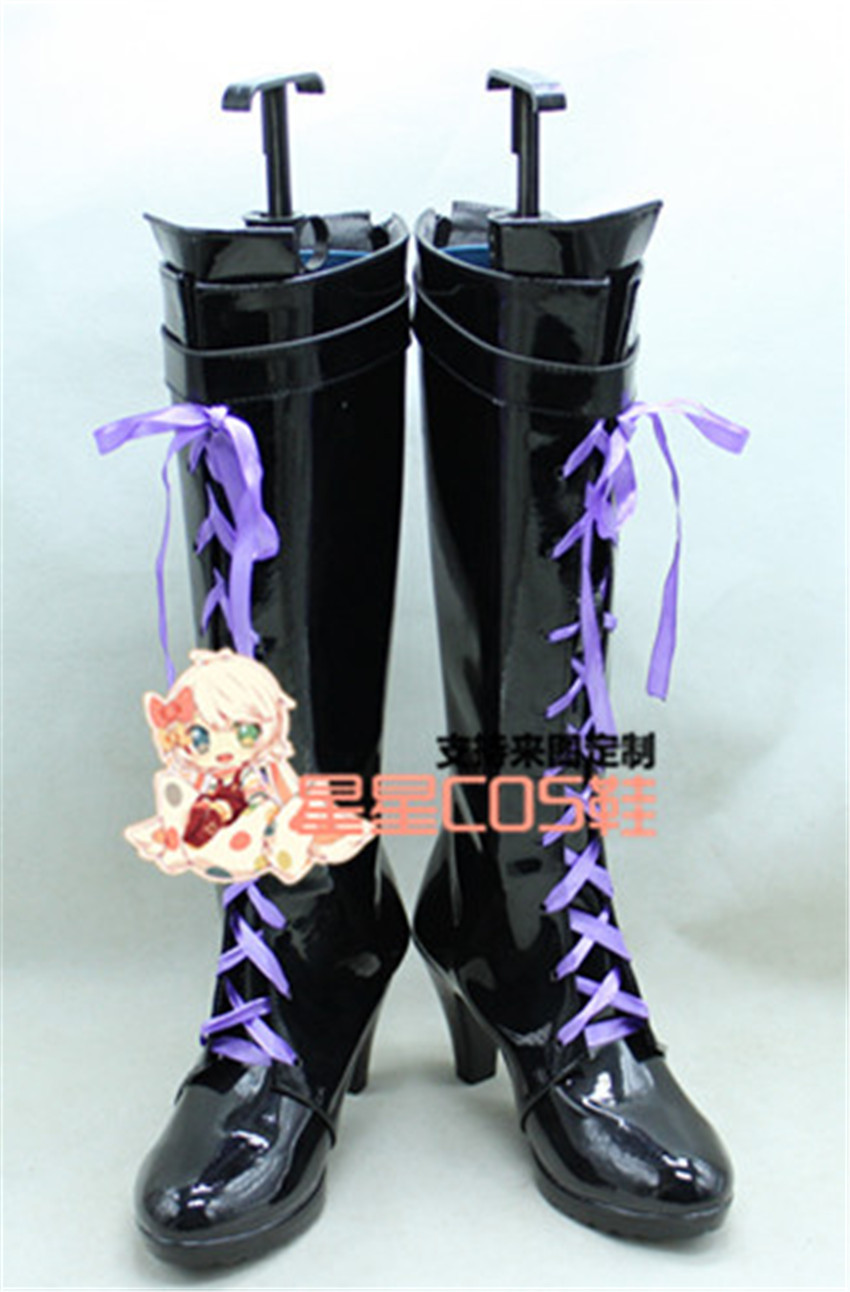 THE IDOLM@STER Cinderella Girls Shibuya Rin Black Purple Cosplay Shoes Boots X002