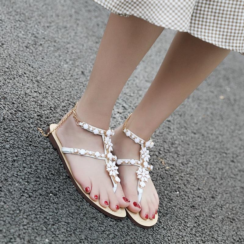 HTB1D81JtuuSBuNjy1Xcq6AYjFXa1 6 Color Woman Sandals Women Shoes Rhinestones Chains Thong Gladiator Flat Sandals Crystal Chaussure Plus Size 46 tenis feminino