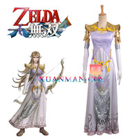 Princess Zelda Cosplay Costume Mobil Games The Legend of Zelda:Twilight Princess Lavender Embroidery Floor Length Dress W0941
