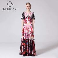SEQINYY Maxi Long Dress 2019 Summer Spring New Fashion Design V neck Short Sleeve Dot Flowers Printed Draped Elegant Dress Women