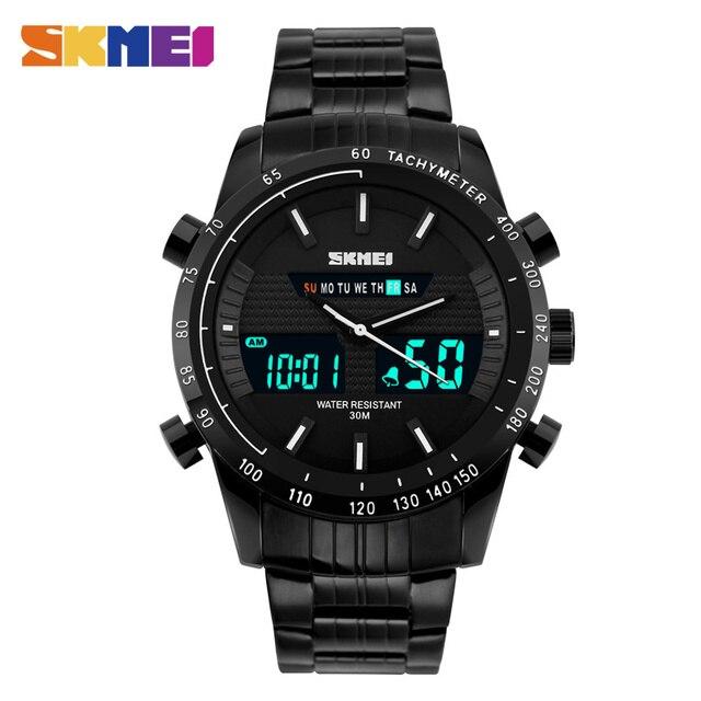 SKMEI 1131 Мужчины Цифровой Открытый Спорт Двойного TimeWatch LED Военная Мода Relogio Masculino Полный Стали Водонепроницаемый Часы