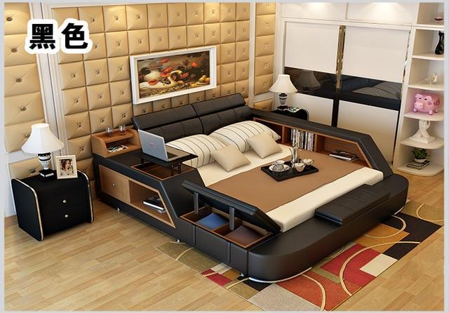 Genuine Leather Bed Frame w/ Storage  3