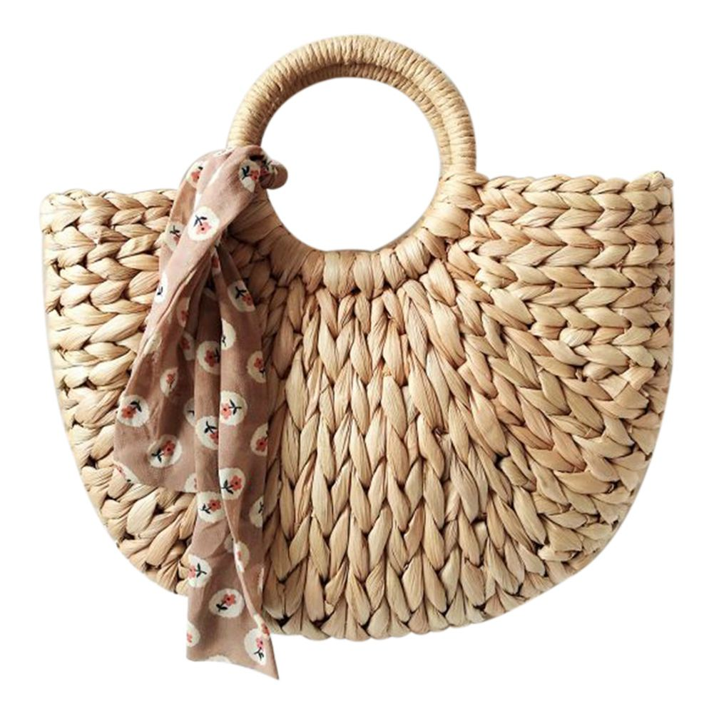 DCOS-Women Bag Korean Foreign of Corn Skin The Semicircle Art Beach Bag Travel Pictures Props Straw Bag Moon Bag New