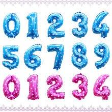 16 Cal różowy niebieski rysunek numer cyfrowy z balonów foliowych do dekoracji ślubnych chłopiec dziewczyna prysznic szczęśliwy balon na przyjęcie urodzinowe