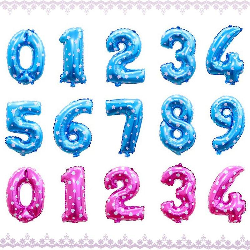 16 Inch Roze Blauw Figuur Cijfers Folie Ballonnen Voor Bruiloft Decoratie Jongen Meisje Douche Gelukkige Verjaardag Ballon Levert