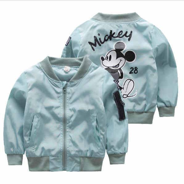 Куртка для детей ясельного возраста; Верхняя одежда; бейсбольная ветрозащитная детская одежда; Новая одежда для малышей с рисунком Микки; куртки для мальчиков и девочек; пальто