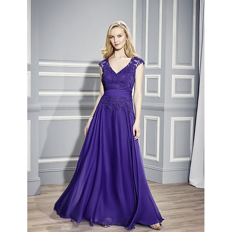 Robe De Soiree 2018 Formal Evening Prom Gown V-Neck Sleeveless Floor-Length Applique Cheap Lace Mother Of The Bride Dresses