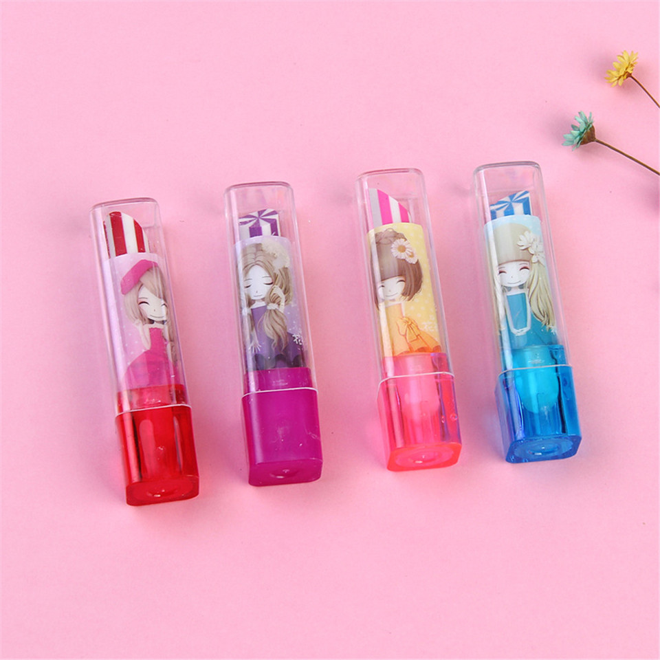 NEW Novelty Cute lipstick shape Erasers Rubber Stationery Kid Gift Sweet .UK