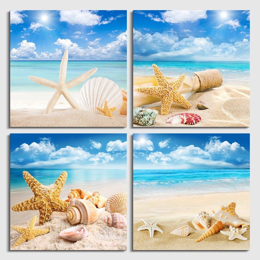 Beach Starfish Home Decor Canvas Print A4 Size 210 x 297mm