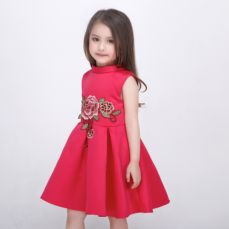 6af6cc9a6b99 Satin Flower Girl Dress Rose Red embroidery Princess Dress Wedding ...
