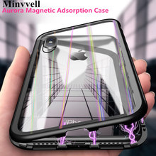 360 Aurora Tempered Glass Magnetic Adsorption Case for iPhone 8 7 Plus X 6 6s PC Bumper Cover for iPhone 7 8 Plus X XS MAX XR 360 magnetic adsorption case for iphone xr xs max x 8 plus 7 full cover front back tempered glass for iphone 8 7 6 6s plus case