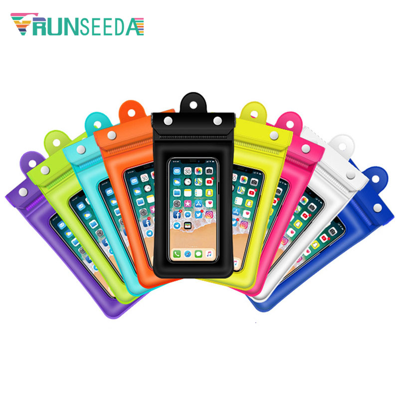 Runseeda 6 Inch Floating Airbag Swimming Bag Lanyard Waterproof Mobile Phone Pouch Super Sealed Smartphone Packing Bag Case 2019