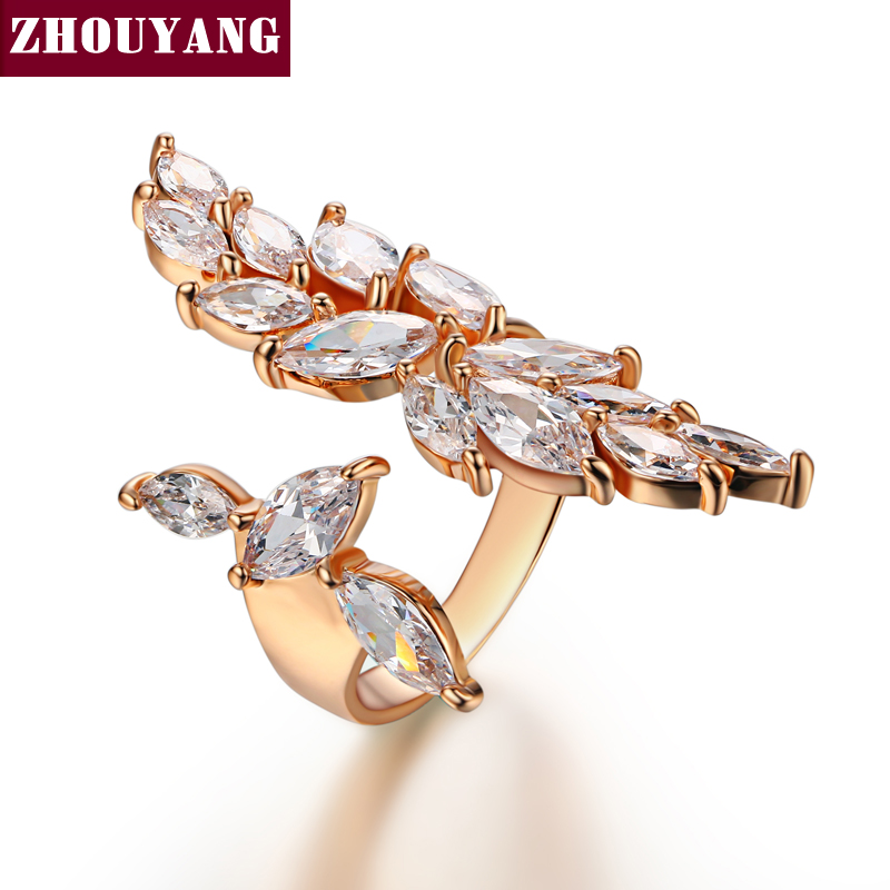 Luxurious Cubic Zirconia Rose Gold Color Fashion Resizable Ring Jewelry For Women Party ZYR349-1 ZYR349-2