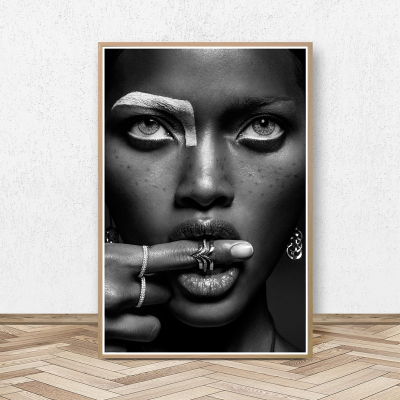 American female singer actor Poster Prints Fashion Black White Photography model Picture Canvas Painting Girls Room Wall Decor image