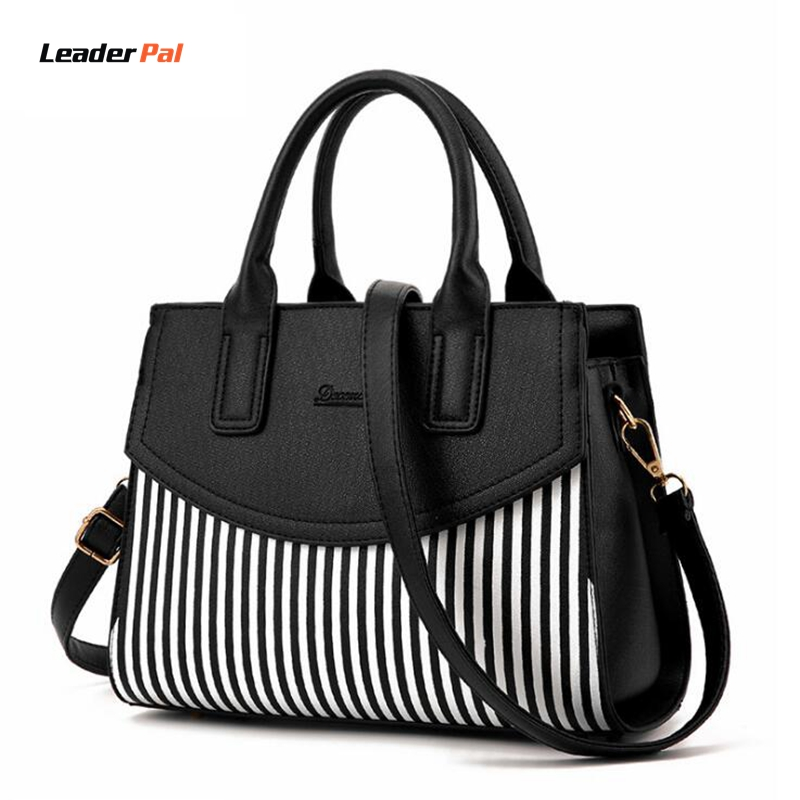 New Fashion Ladies Party Top-Handle Bags Vintage Casual Stripe Totes Handbags Leather Shoulder Bags for Women Messenger Handbags hot new arrival vintage tote bag women leather handbags ladies party shoulder bags fashion top handle bags ladies cute bear drop
