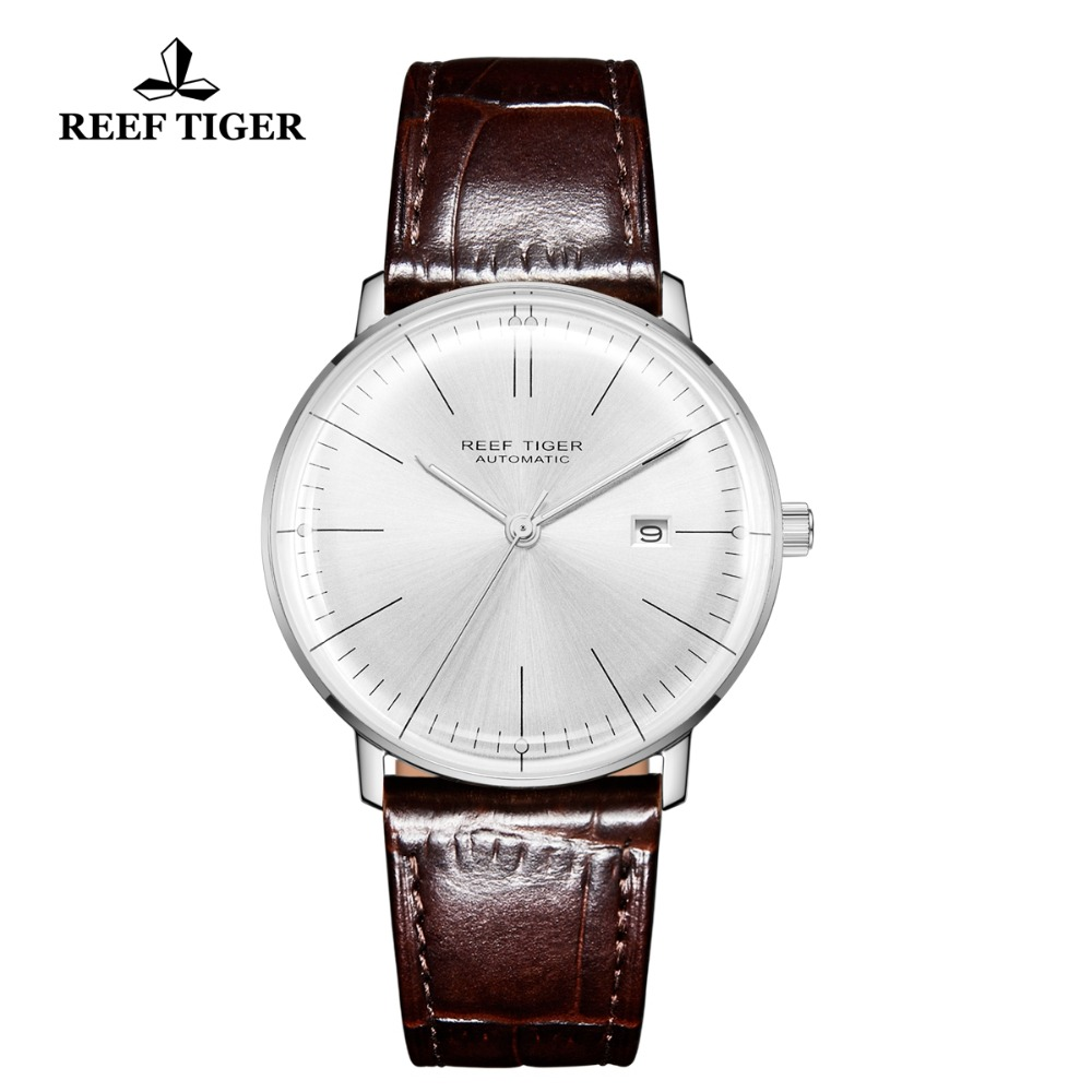 2018 Reef Tiger/RT Luxury Brand Ultra Thin Watch Men Steel Automatic Watches Waterproof Brown Leather Strap Clock RGA8215