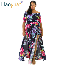 HAOYUAN M-3XL Big Plus Size Off Shoulder Maxi Dress 2017 New Floral Printed Elegant Women Vintage Sexy Dresses Autumn Long Dress