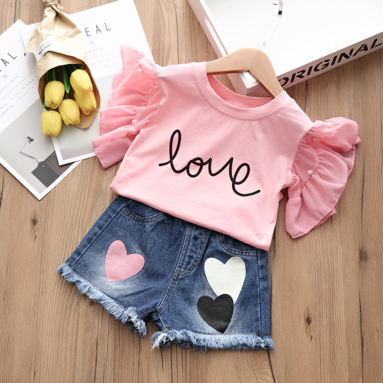 Alice summer hot style 2018 children jeans + t-shirts, children's wear two-piece han edition of the new children's shorts 5