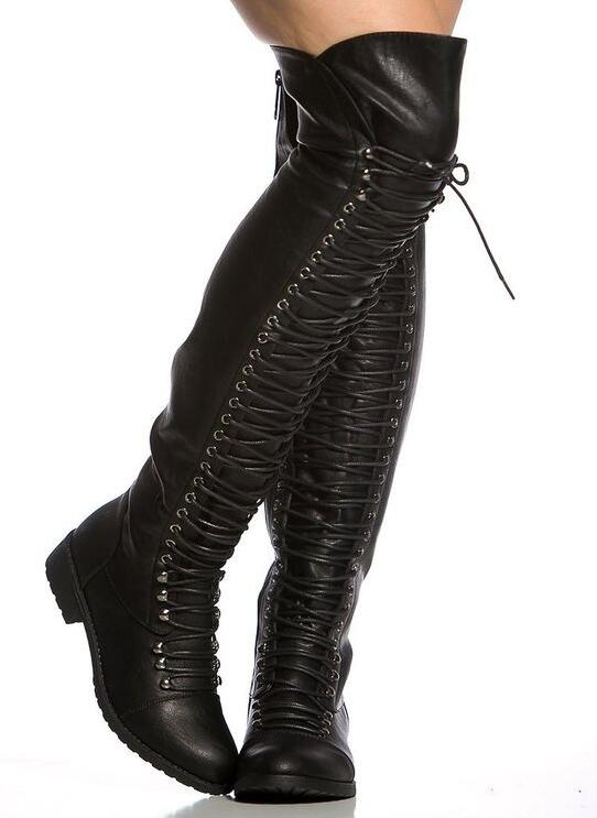 где купить 2017 Hot Faux Leather Women Over The Knee Boots Round Toe Fashion Lace Up Boots Med Heel Riding Boots Sexy Combat Boots Size 42 по лучшей цене