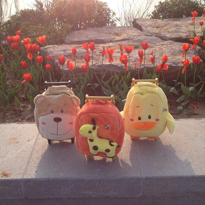 Горячая Новое поступление олень утка Медведь плюшевые школьная сумка Мягкие школьный рюкзак школьная сумка тележка дети багажа для мальчи...