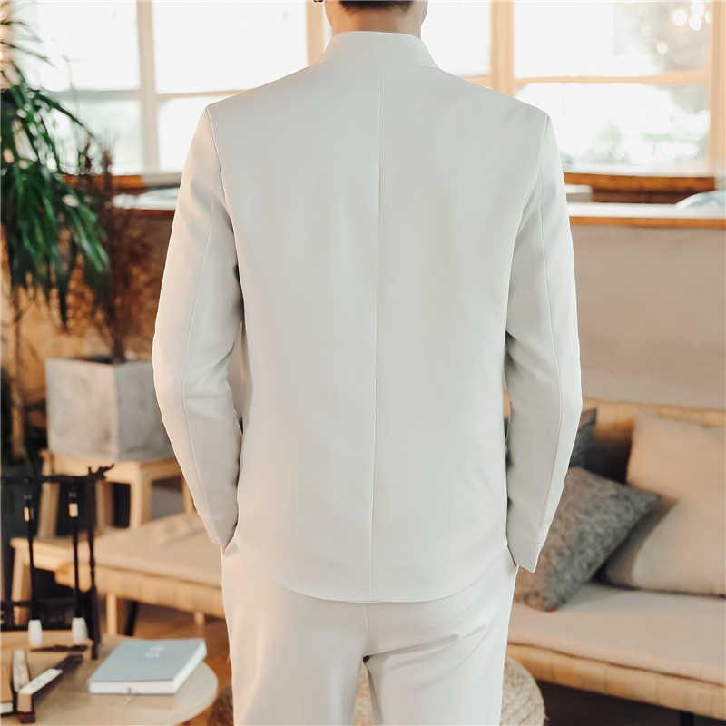 2019 ニュークラシック刺繍スーツの男性のファッションカジュアルスタンドカラーメンズスーツジャケットとパンツ中国ヴィンテージスタイル