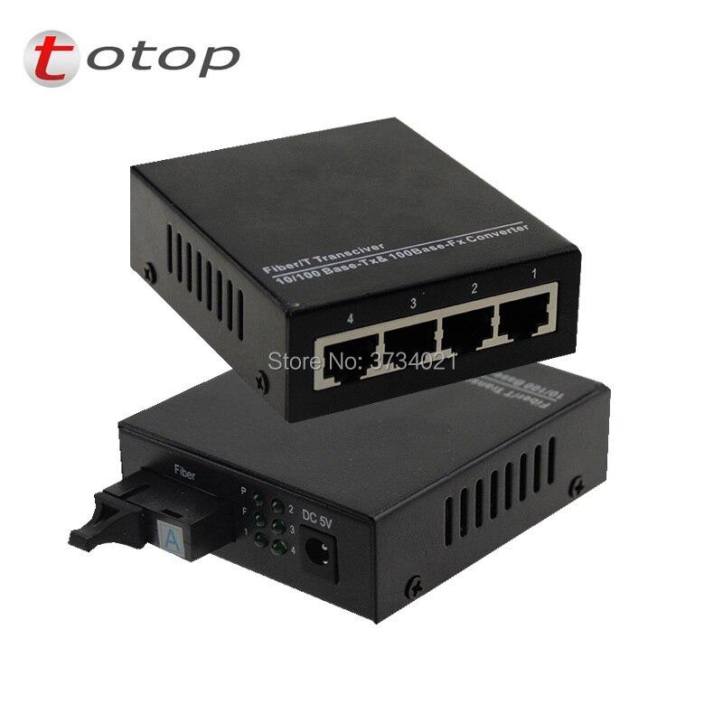 10/100M 1 fiber 4 RJ45 port, Multimode Dual fiber 1310nm,SC,0~2KM, AC 100V-240V, DC 5V 1A,  External power supply
