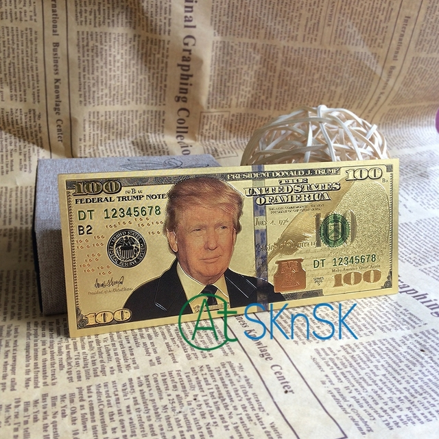 Whole 100pcs Lot Donald Trump Bill Usa Banknote 100 Dollar Banknotes Fake Money Bills Gold Plated Business Gift Collection