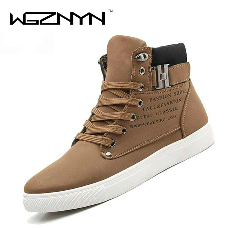 WGZNYN 2017 Mote High Quality Menn Lær Sko High Top Menns Casual Shoes Pustende Lærvesker Man Lace Up Sneakers