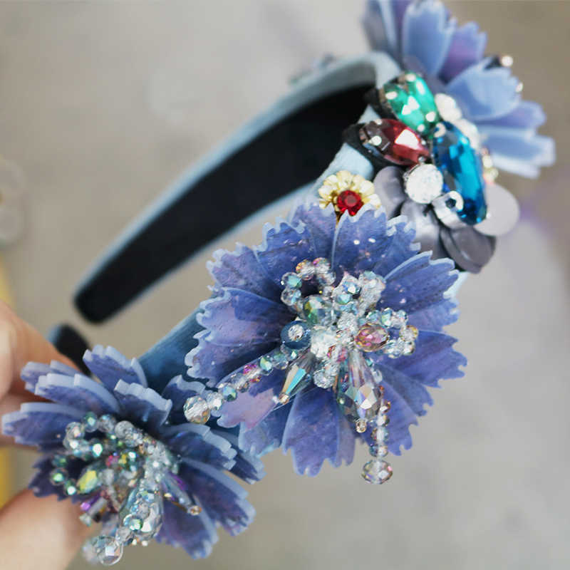 0dd9bf8243c Baroque Mysterious Blue Flower Crown Tiaras Handwork Sequins Crystal Beads  Hairbands Pendant Wedding Jewelry Hair Accessories