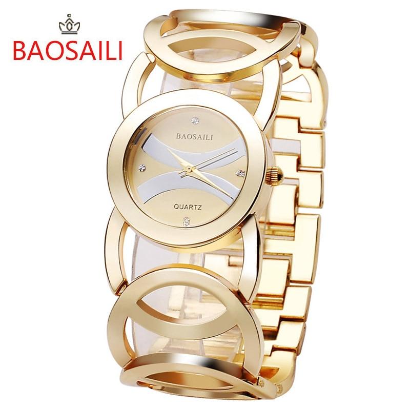 BAOSAILI Brand Imitation Gold Plated Circles Strap Stainless Steel Back Shinning Women Watches Lady Analog Quartz Clock
