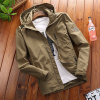 European and American men's jacket spring new youth casual jacket men's hooded jacket long trench coat large size jacket men