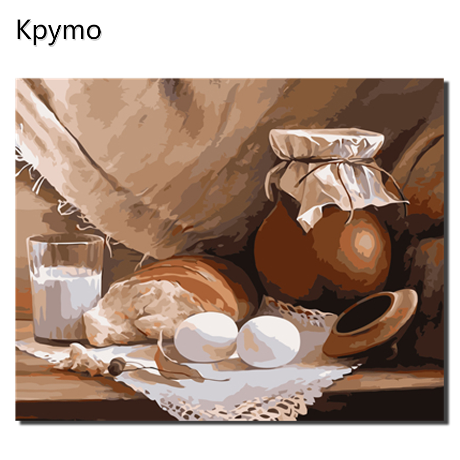 Kpymo DIY Painting By Numbers earthen jar Modern Home Wall Art Picture Kits Acrylic Handpainted Oil Painting For Gift VA-0329