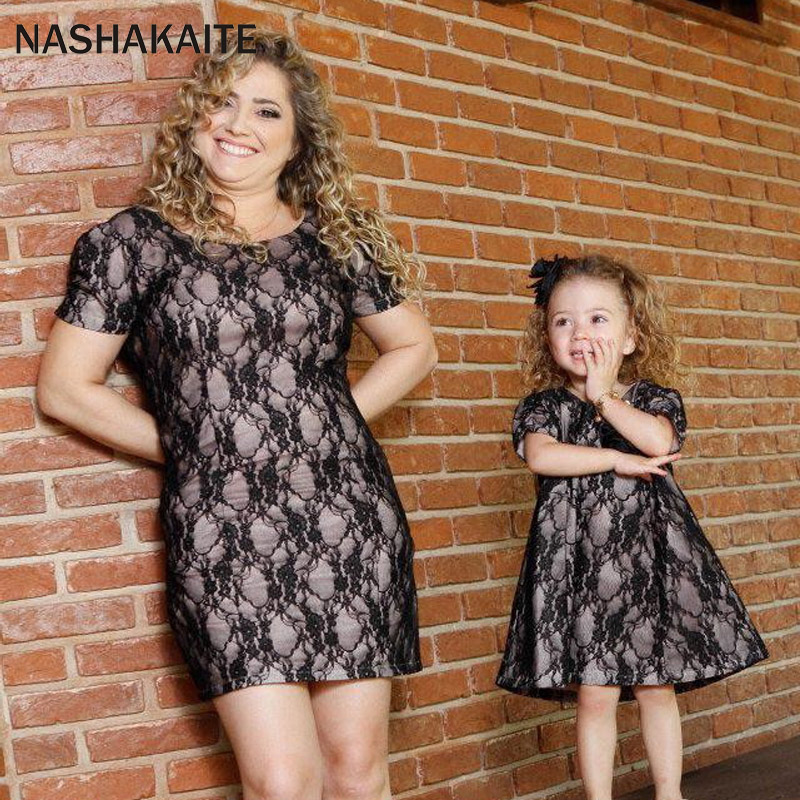 NASHAKAITE Mom and daughter dresses Black Vintage Lace Mini Dress mother and daughter clothes Family Look Mommy and me clothes ...
