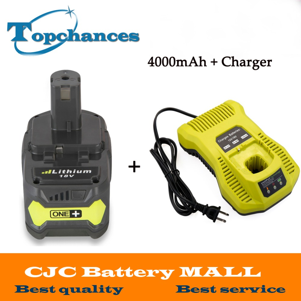 Charger+ High Quality New 18V 4000mAh Li-Ion For Ryobi Hot P108 RB18L40 Rechargeable Battery Pack Power Tool Battery Ryobi ONE+ high quality brand new 3000mah 18 volt li ion power tool battery for makita bl1830 bl1815 194230 4 lxt400 charger