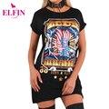 Punk estilo de las mujeres de verano de manga corta de impresión t-shirt dress plus tamaño mujer sexy mini dress vestidos lj8499r