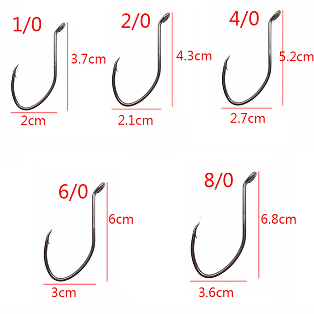 Offset Barbed Fishing Hooks Set