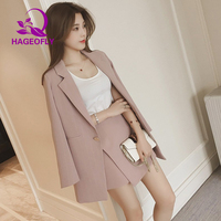 2019 New Korean Women Netched Long Sleeve Pink Blue Striped Single Button Office Lady Skirt Suit Jacket Two Piece Suits Clothes