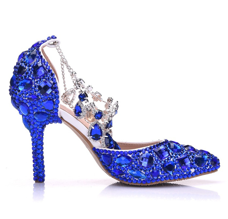 Zuoxiangru Sandalias Mujer Roma lavanda Con La El De Cristal Estilo Azul Zapatos Diamante Hebilla Más Tamaño Bling Correa blanco multiple oro Boda Punta Lujo PSq8rPw