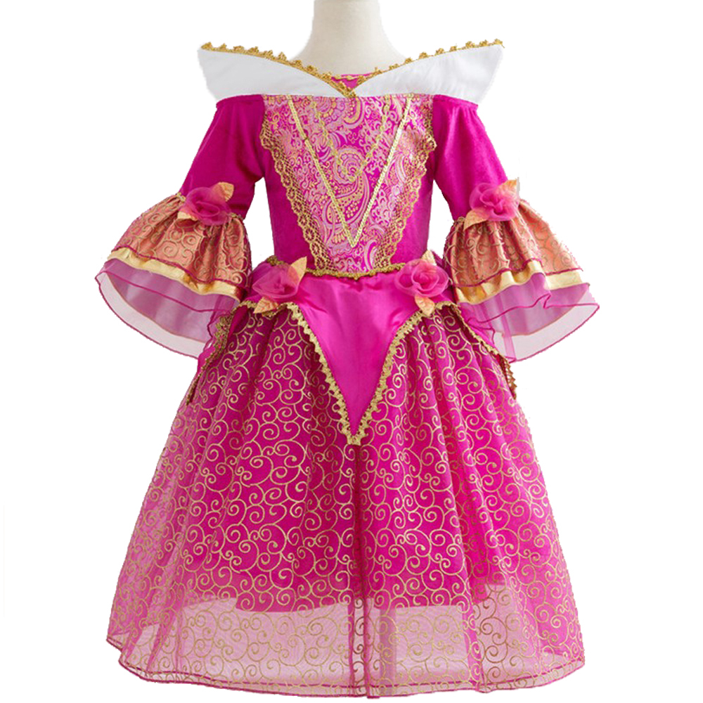 Fancy Girl Sleeping Beauty Princess Dress for Girls Cinderella Elsa Sofia Cosplay Costume for Party Kids Birthday Aurora Dresses girls sleeping beauty princess cosplay party dresses children long sleeve aurora costume clothing kids tutu dress for christmas