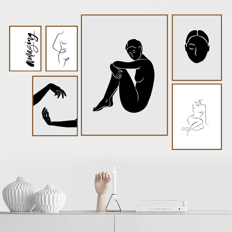 Best Price B4c17 Hand Sexy Girl Line Body Art Wall Art Canvas Painting Minimalist Style Nordic Posters And Prints Wall Pictures For Living Room Mh Tokyo1 Co