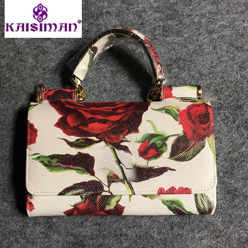 Luxury Design Rose Flower Print Clutch Bag Genuine Leather Ladies Wallet Real Cow Leather Messenger Bag Fresh Female Clutch Tote